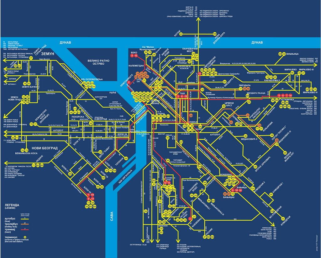 mapa beograda gradski prevoz Radio klub